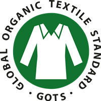 The Global Organic Textile Standard (GOTS) logo with green circle and white shirt inside