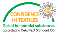Okeo-Tex 100 certification for confidence in textiles and tested for harmful substances
