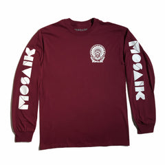 MOSAIK Work Chief Maroon/White Long Sleeve T-Shirt Limited Edition
