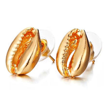 Gold Cowrie Shell Stud