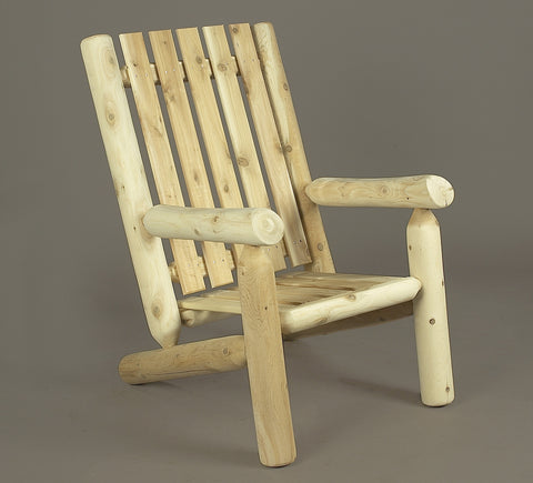 Rustic Natural Cedar Adirondack High Back Chair & Ottoman - Natural