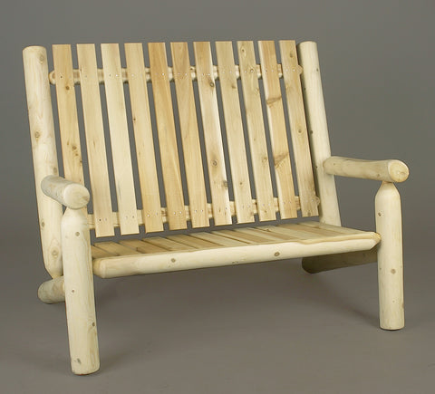 Rustic Natural Cedar Adirondack High Back Settee - Natural