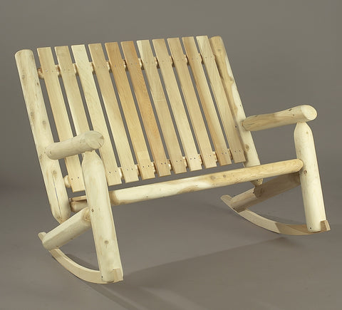 Rustic Natural Cedar Adirondack High Back Double Rocker - Natural