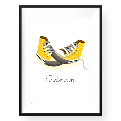Yellow Wall Art | Customized Converse Wall Art Print | Yislamoo
