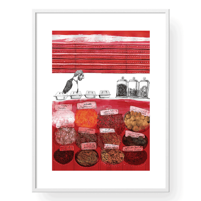 Wall Art,Spices Shop Art Print,White Frame,A3 Size,Yislamoo