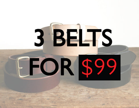 3 for $99 belt sale