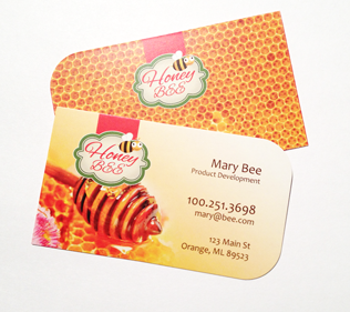 "Full Color 16pt 3.5x2"" Two Rounded Corners Business Cards"