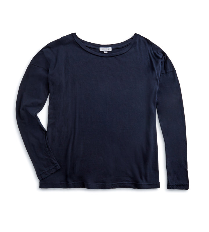 Woman's LS Boat Neck T-Shirt - Navy