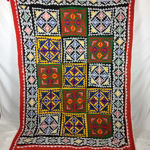 BRIGHT TRADITIONAL REVERSE APPLIQUE SINDHI TOOH VILLAGE QUILT, PAKISTAN