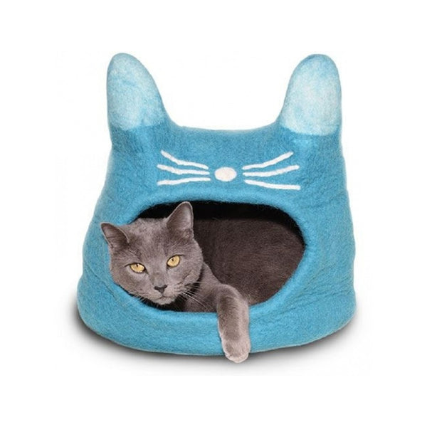 Natural Felted Cat Face Cave Color : Turquoise