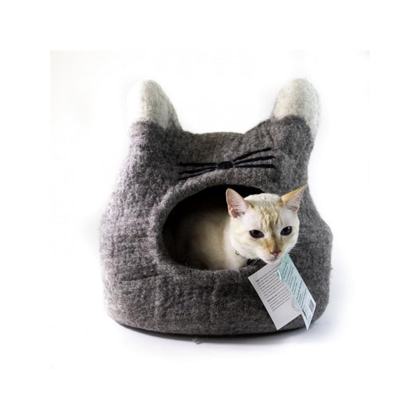 Natural Felted Cat Face Cave Color : Grey