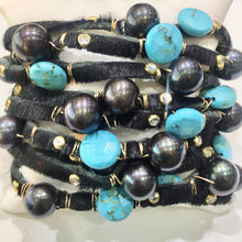 Load image into Gallery viewer, Multi-strand leather cuff with pearls and turquoise
