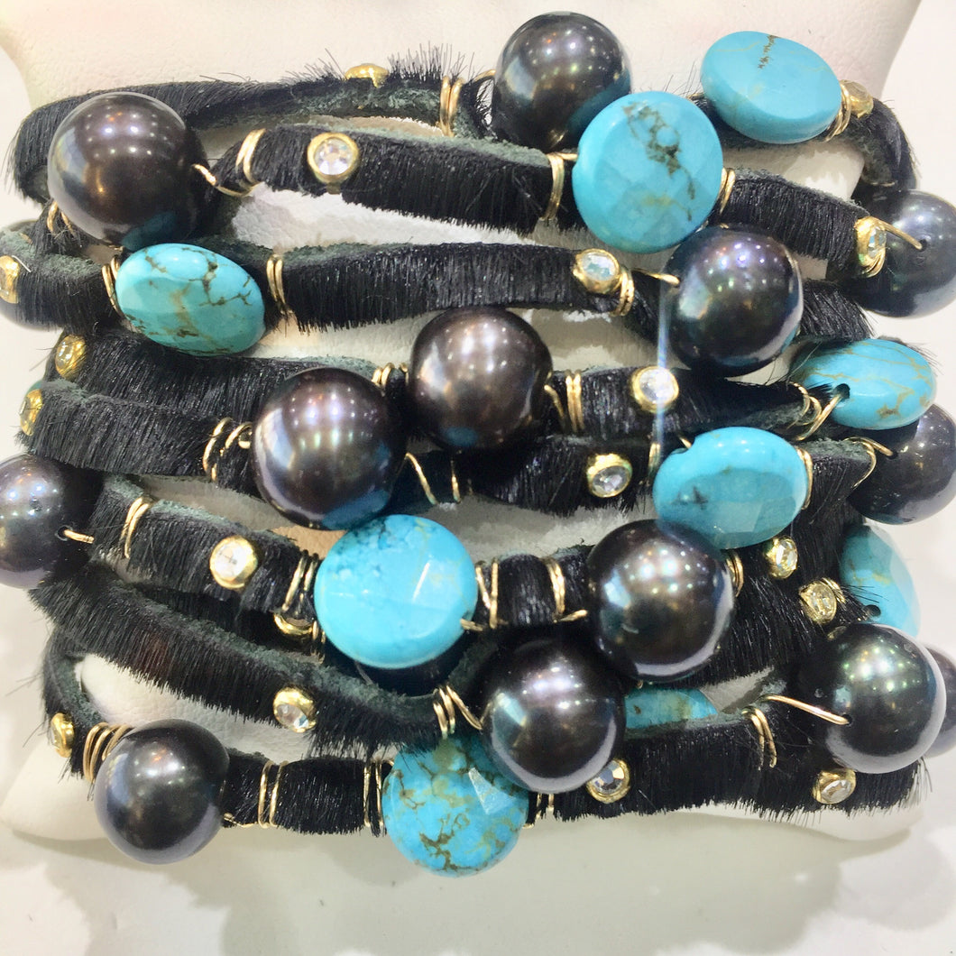 Multi-strand leather cuff with pearls and turquoise