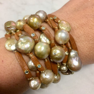 Multi-strand leather cuff with pearls