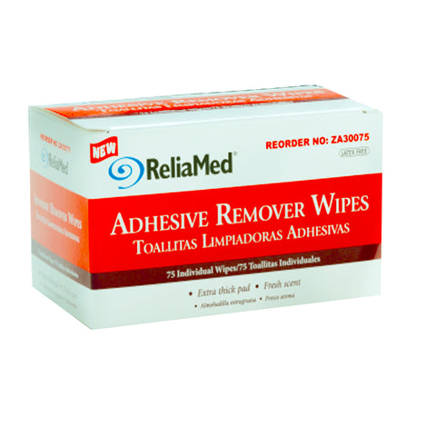 ReliaMed Adhesive Remover Wipes, 50ct Box, Extra Thick Pad, Fresh Scent.