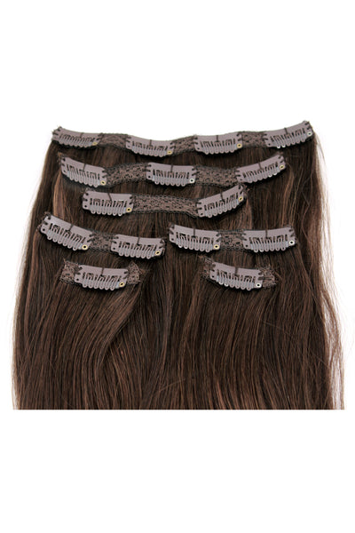 "16"" Clip In Hair Extensions: No 3 Dark Brown - Celebrity Strands  - 3"
