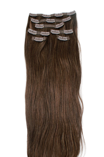 "16"" Clip In Hair Extensions: No 3 Dark Brown - Celebrity Strands  - 2"