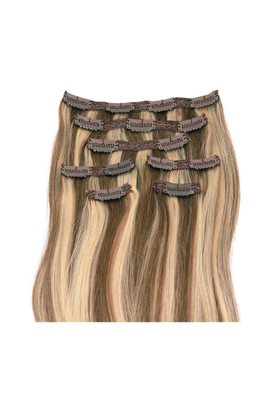 "16"" Clip In Hair Extensions: No P8-24 Light Brown/ Golden Blonde - Celebrity Strands  - 3"