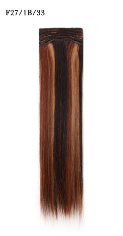 Weft Human Hair Extensions: Color #F27/1B/33 Honey Blonde, Off Black and Dark Auburn Mix