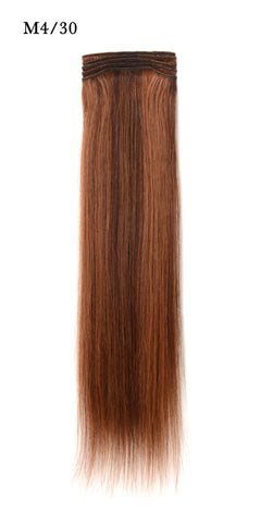 Weft Human Hair Extensions: Color #M4/30 Medium Brown and Auburn Mix
