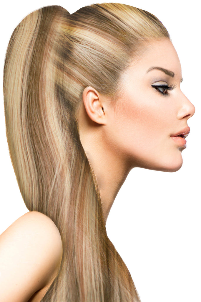 "16"" Clip In Hair Extensions: No P8-24 Light Brown/ Golden Blonde - Celebrity Strands  - 1"