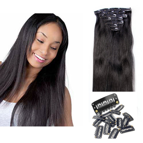 "18"" Clip In Remy Hair Extensions: Off Black No. 1B - Celebrity Strands  - 2"