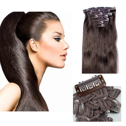 "16"" Clip In Remy Hair Extensions: Darkest Brown No. 2 - Celebrity Strands  - 2"