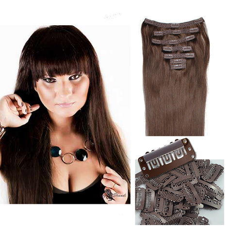 "16"" Clip In Remy Hair Extensions: Dark Brown No. 3 - Celebrity Strands  - 2"