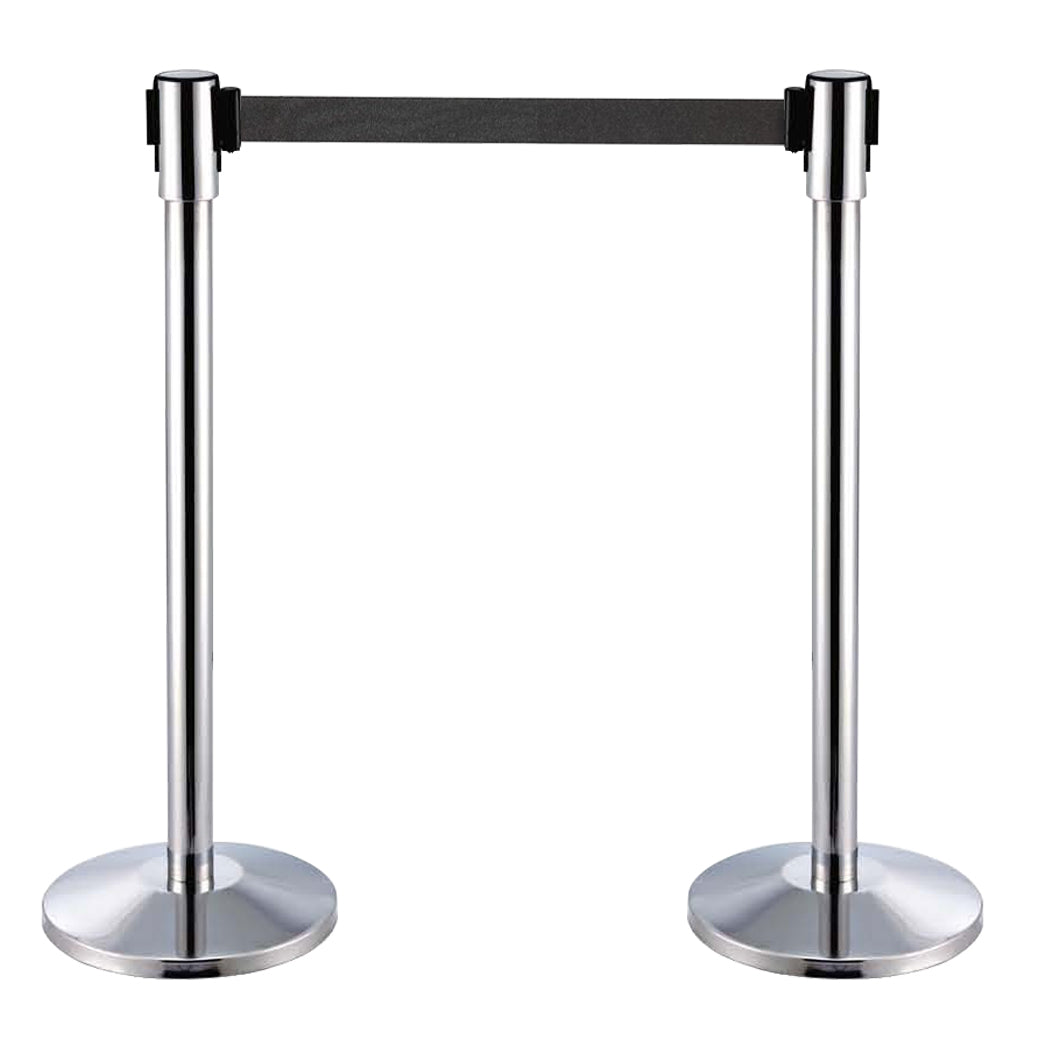 Stainless Steel Retractable Stanchion with Black Belt IEP