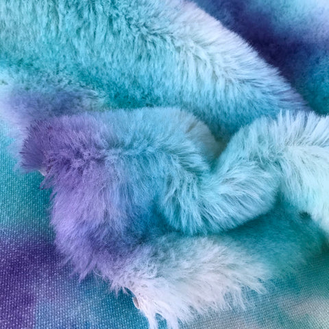 Long Alpaca - Hand Dyed turquoise and Violet - Fat 1/4m - JUN003