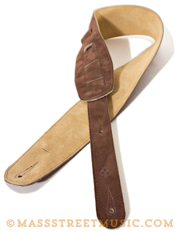Leather Aces - Suede Guitar Strap Chocolate/Sand