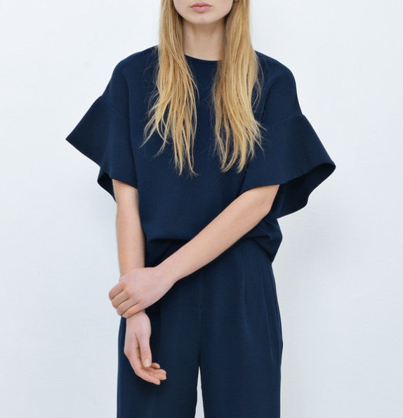 Edith crepe top midnight