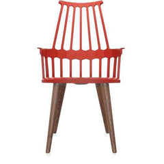 Comback 4-Leg Chair Side/Dining Kartell orange/red body / natural oak stained legs