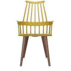 Comback 4-Leg Chair Side/Dining Kartell yellow body / oak stained legs