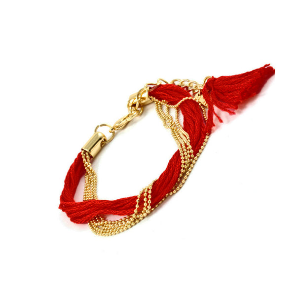 Deep Red Tassel & Gold Chain Bracelet