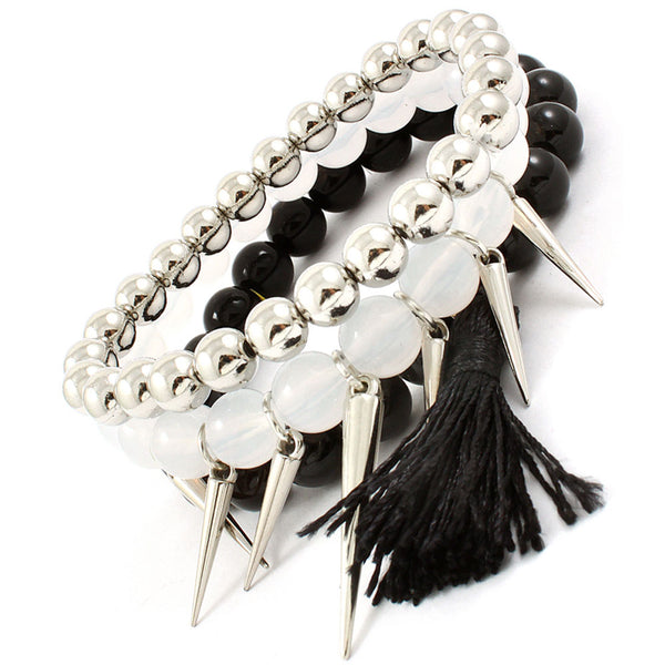 Black Beaded Bracelet Set with Spike & Tassel Accents