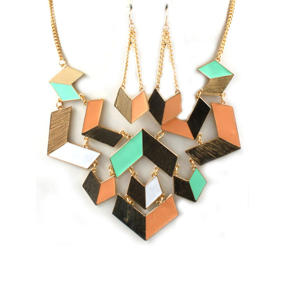 Art Deco Geometric Matching Jewelry Set