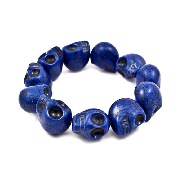 Blue Stretch Skull Bracelet
