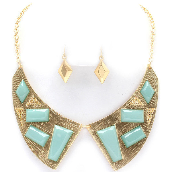 Davina's Green Stone Collar Necklace