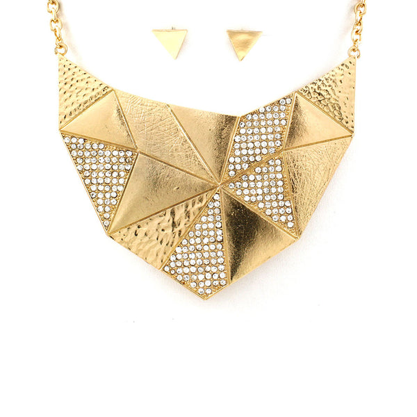 Distressed Geometric Gold Bib Necklace