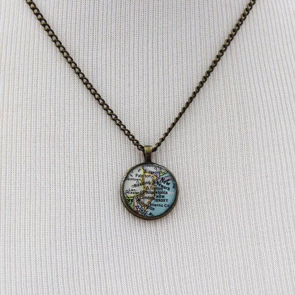 New Jersey State Map Necklace