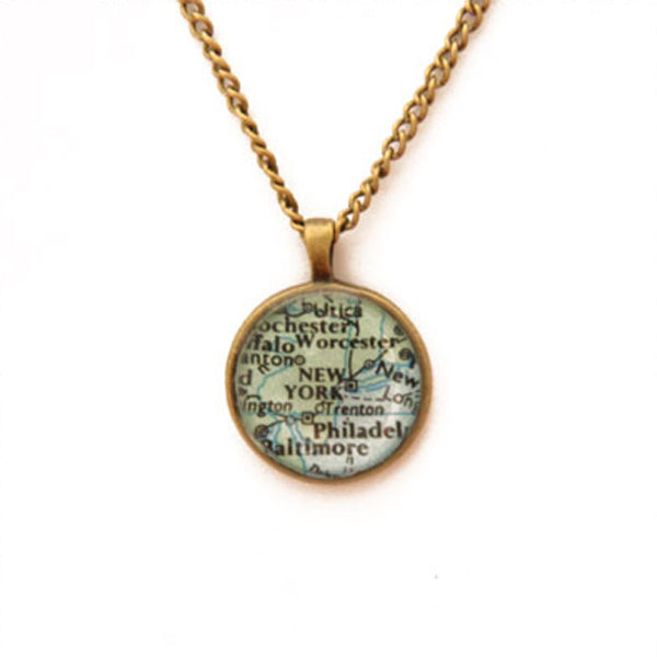 Brass & Chain New York Map Pendant Necklace