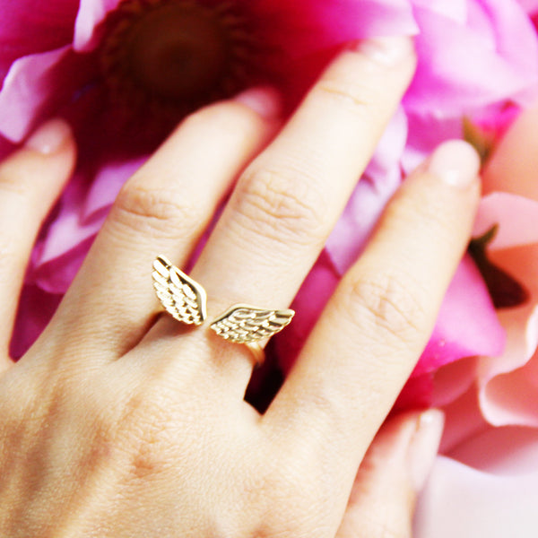 Gold Plate Angel Wing Ring
