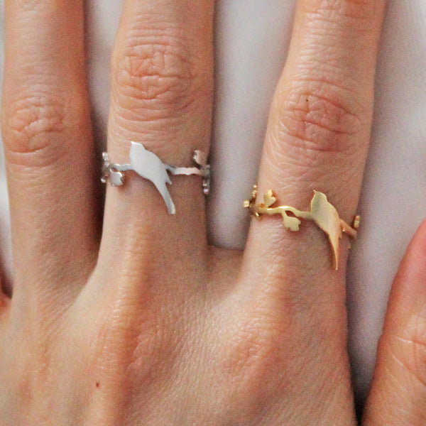 Silver Bird Perched Ring