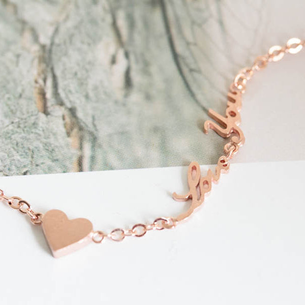 Delicate Rose Gold Love You Necklace