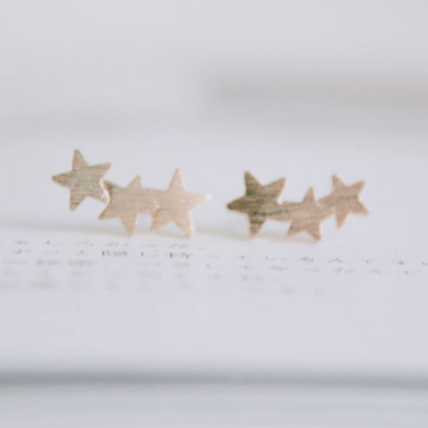 Gold Shooting Star Stud Earrings