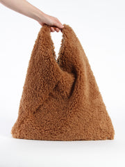 Furry Triangle Bag - Camel
