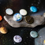 Outer space lapel pin - Galaxy Brooch with 11 planets, moon, sun - Interchangeable business attire accessory - Cosmic gift inspired by the universe, handmade at yugentribe.com