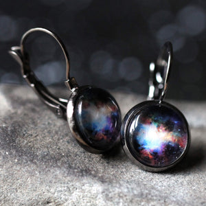 Customizable Outer Space Galaxy Earrings in Antique Silver with Leverback Closure - Choose your outer space image - Universe Jewelry by YugenTribe