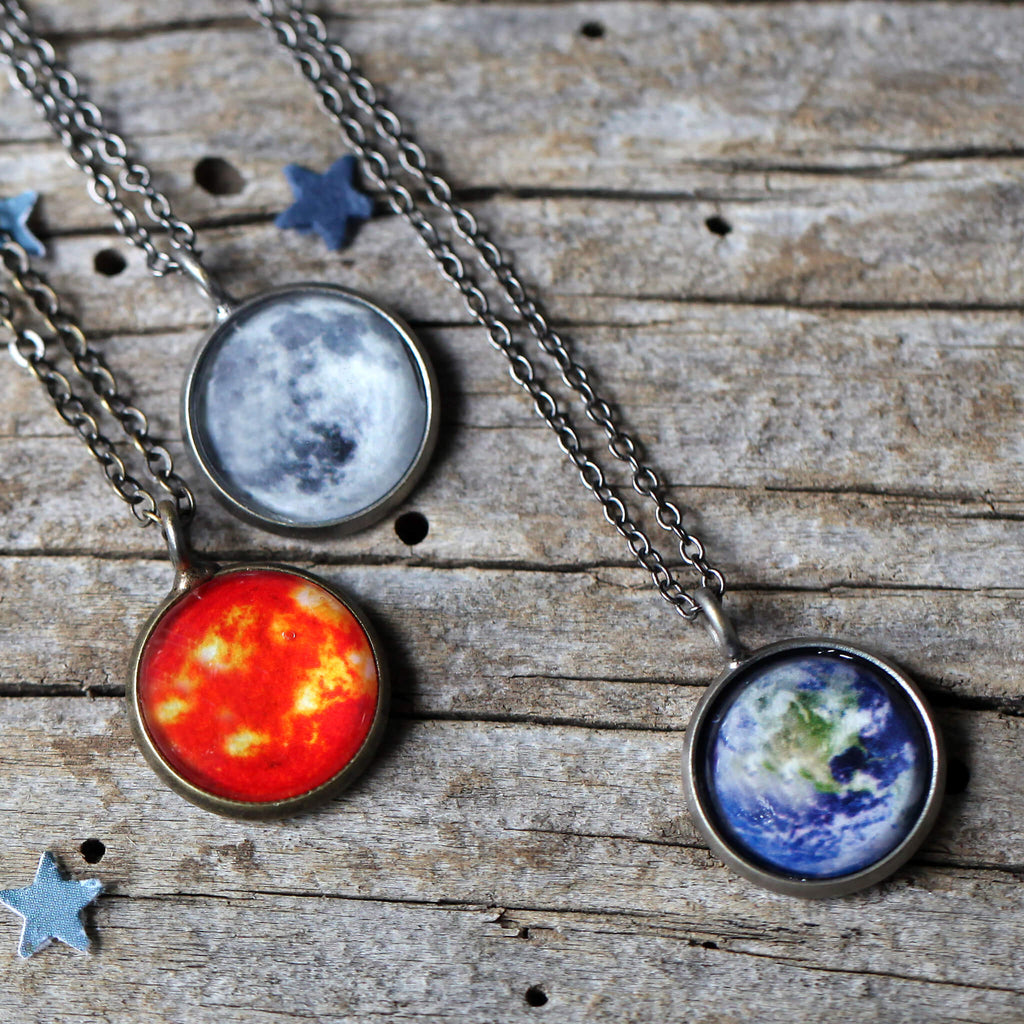Custom outer space pendant - Choose your galaxy image - Sun Earth and Moon necklaces shown, handmade universe jewelry by Yugen Tribe